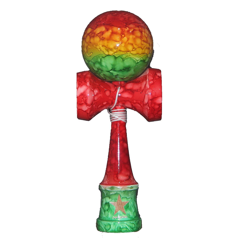 Red Full Marble Rasta Shinny Super Kendama Super Sticky Japanese Wooden Toy Free String USA Seller
