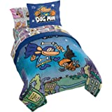 Jay Franco Dog Man Supa Buddies 5 Piece Twin Bed Set - Includes Comforter & Sheet Set - Bedding Features Cat Kid & Lil' Petey