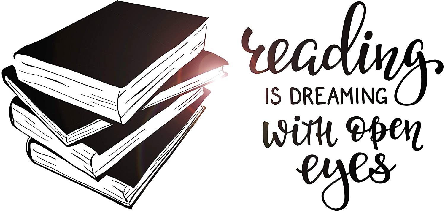 Vinyl Wall Decal Books Quote Reading Room Library Book Shop Stickers Large Decor (ig4847) Black 10.93 in X 22.5 in