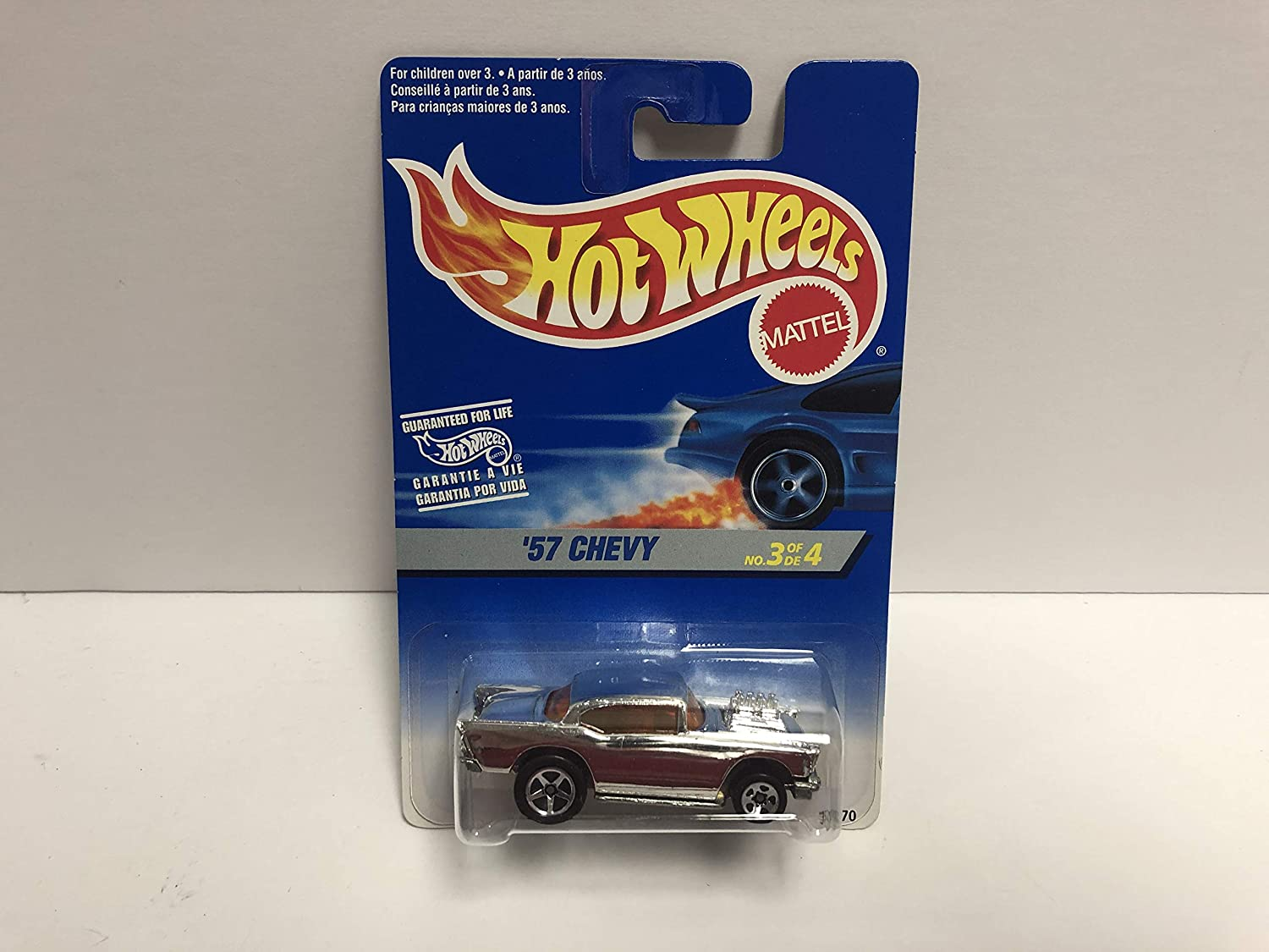 57 CHEVY 1996 Mattel Hot Wheels diecast 3/4#15270 ~ RARE Foreign Carded at Amazons Sports Collectibles Store