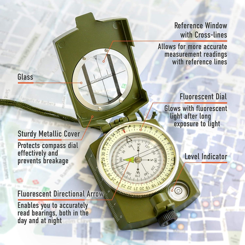 KombatUK Lensmatic Military Army Hiking Walking Map Reading Folding Compass NEW