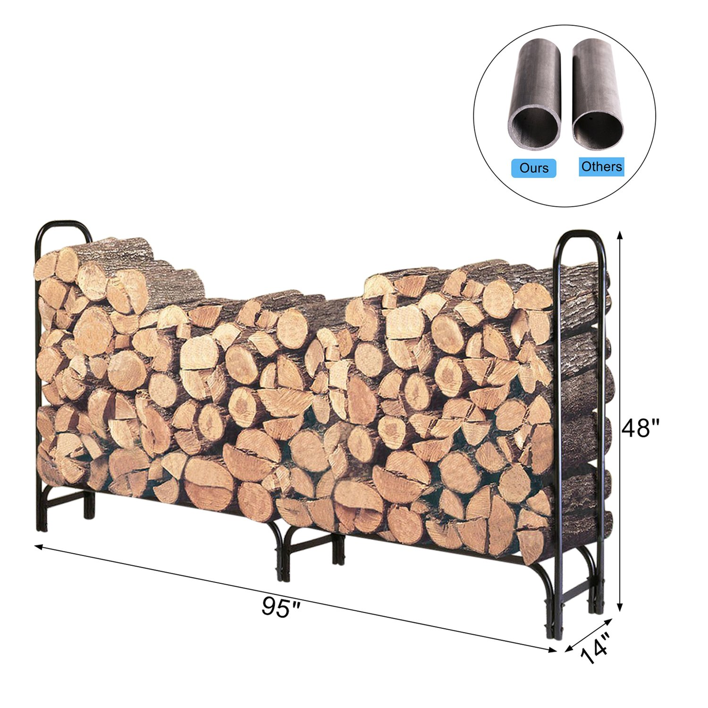 HollyHOME 8 Feet Large Heavy Duty Outdoor Firewood Racks Steel Wood Indoor Storage Log Rack Holder