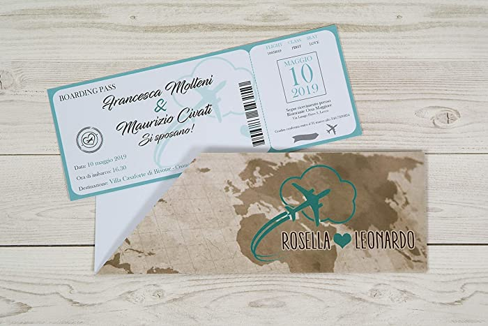 Partecipazioni Matrimonio Biglietto Aereo.Partecipazioni Matrimonio Personalizzate Inviti Nozze