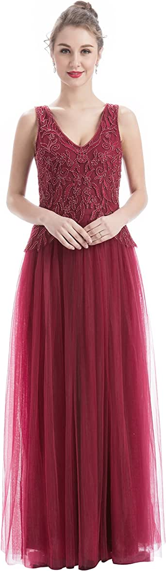 Women's V-Neck Tulle Beaded Embroidered Evening Gowns Prom
