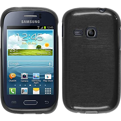 PhoneNatic Funda de silicona para Samsung Galaxy Young - brushed plata - Cover Cubierta + protector de pantalla