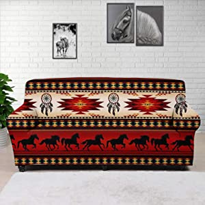 GLENLCWE Tribal Ethnic Horse Print Soft Couch Cover Stretch Sofa Slipcover Washable Breathable Sofa Cover Furniture Protector Heavy Duty for Couches and Loveseats - Small