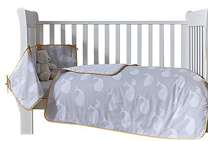 Clair de lune grigio giallo senape whales set biancheria da letto