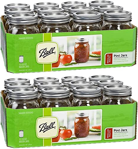 NEW 12ct Ball Regular Mouth 16oz Pint Clear Glass Mason Jars with Lids Bands
