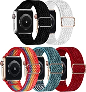 GBPOOT 5 Packs Nylon Stretch Band Compatible with Apple Watch Bands,Adjustable Soft Sport Breathable Loop for Iwatch Series 6/5/4/3/2/1/SE,Black/White/Colorful/CelestialTeal/Red,42/44mm