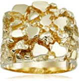 Men's 14k Yellow Gold Nugget Diamond-Cut Ring, Size 9