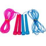 Jump Rope for Kids (2 Pack) - Set of 2 9ft Adjustable Skipping ropes (Pink & Blue) for Children Jumping Games Songs and Rhymes