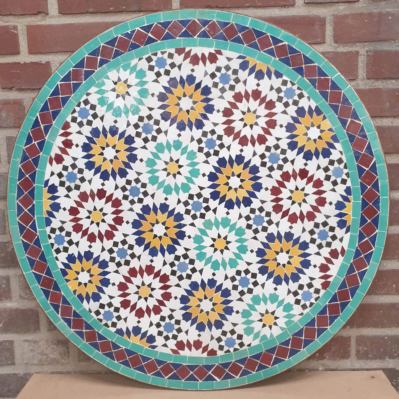 Casa Moro | Mesa de jardín con mosaico marroquí (diámetro 80 cm, altura con estructura de 73 cm, hecha a mano de Marrakesch | MT2235