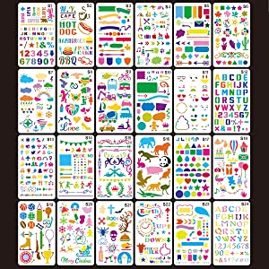 Journal Stencil Plastic Planner Stencils, 30 Pcs Children Stencil Drawing Set for Notebook Diary Scrapbook Craft Projects,7x4 inch