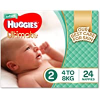 Huggies Ultimate Nappies, Unisex, Size 2 Infant (4-8kg), 24 Count