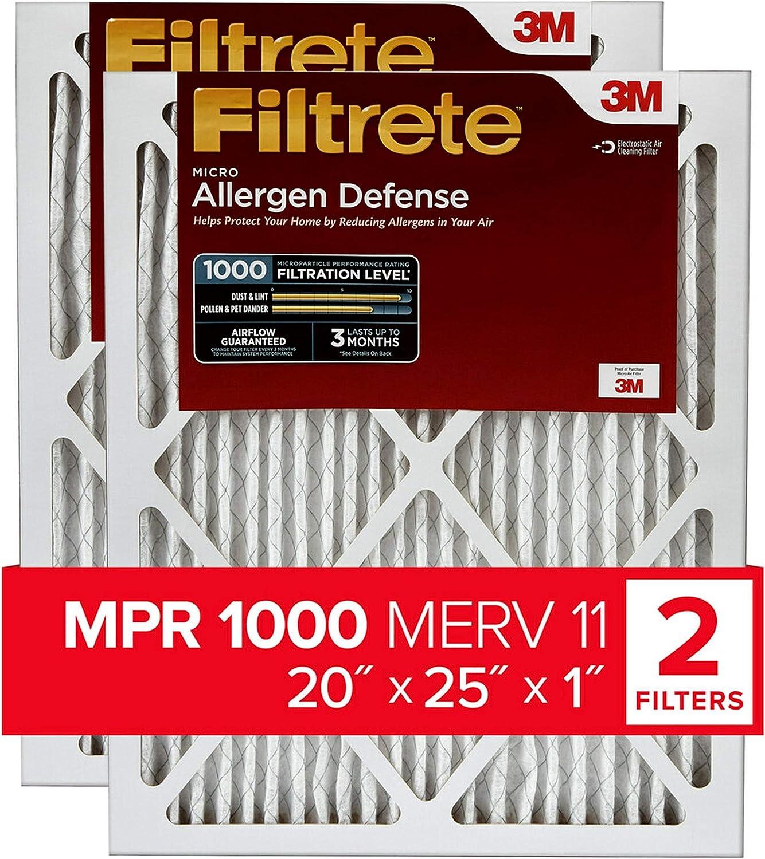 Filtrete 2-Pack MPR 1000 20x25x1, AC Furnace Air Filter $24 Coupon