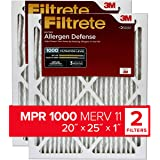 Filtrete 20x25x1, AC Furnace Air Filter, MPR 1000, Micro Allergen Defense, 2-Pack