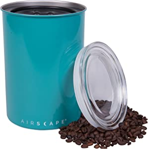 Airscape Coffee Storage Canister (1 lb Dry Beans) - Patented Airtight Lid Pushes Air Out to Preserve Food Freshness - Two Way Valve Releases CO2 - Stainless Steel Food Container- Turquoise
