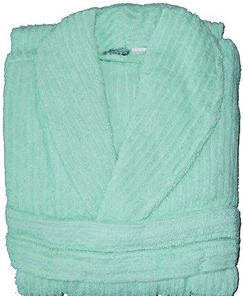 Frottee Bademantel aus 100% Baumwolle, uni einfarbig hellgrün, Streifen Muster, Morgenmantel, Frottier, Unisex für Damen und Herren (S,