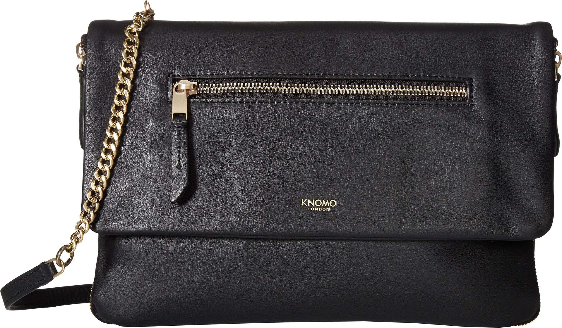 Knomo London Mayfair Luxe Elektronista Leather Digital Clutch / Shoulder Bag 10'' (No Power) (Black)