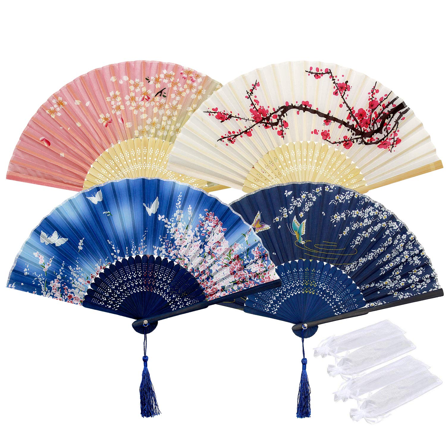 4pcs Folding Fans, Rorchio Hanheld Silk Bamboo Fans Hand Held Fan with Tassle and Organza Bags for Wedding Party Home Wall Decoration Dancing Cooling