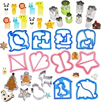 33PCS Sandwich Cutters Set Holiday Vegetable Fruit Cookie Cutters for Kids Lunchbox Bento Box with Halloween Pumpkin…