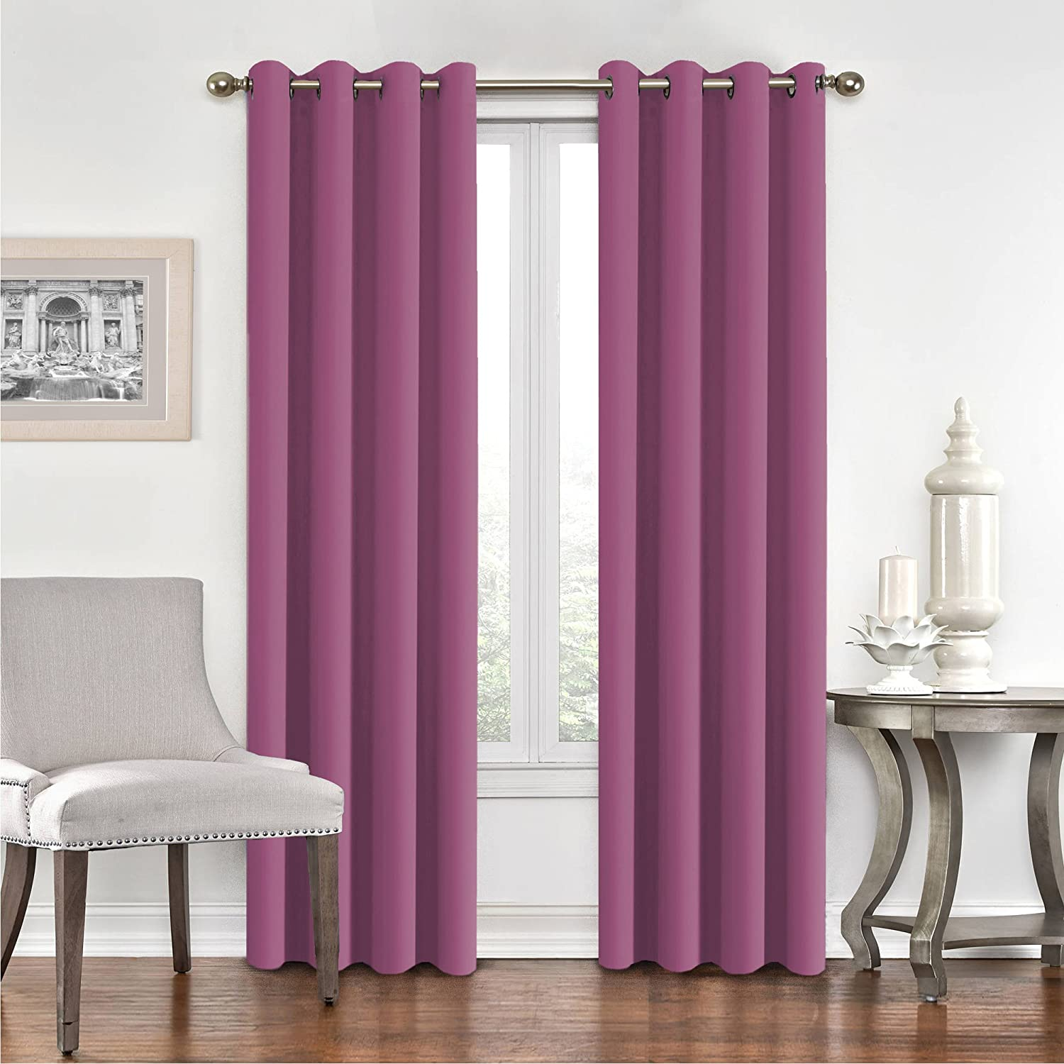 FlamingoP Room Darkening Grommet Top Multiple Sizes Microfiber Solid Color Blackout Thermal Insulated Curtain/Drape