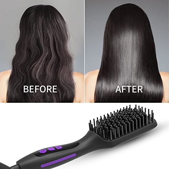 Ionic Hair Straightener Brush GLAMFIELDS Electrical Heated