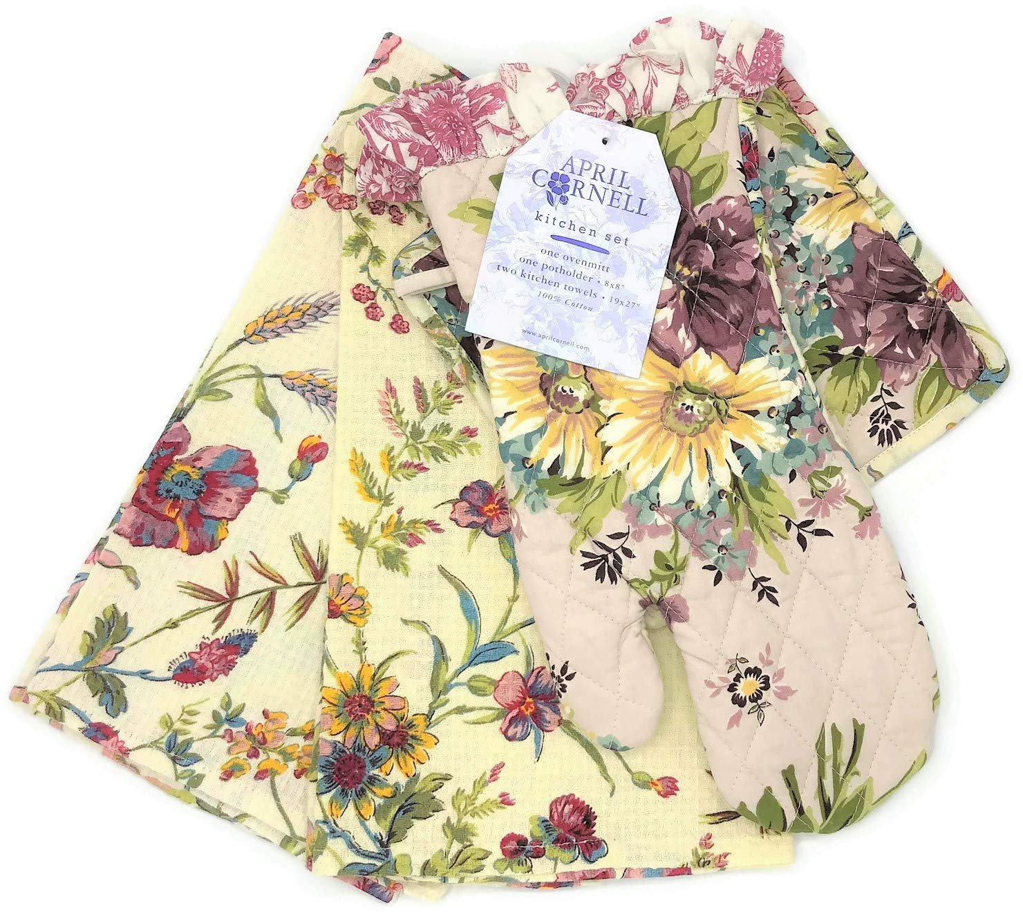 April Cornell Plum Floral Oven Mitt, Potholder, Two Towels Kitchen Set by April Cornell