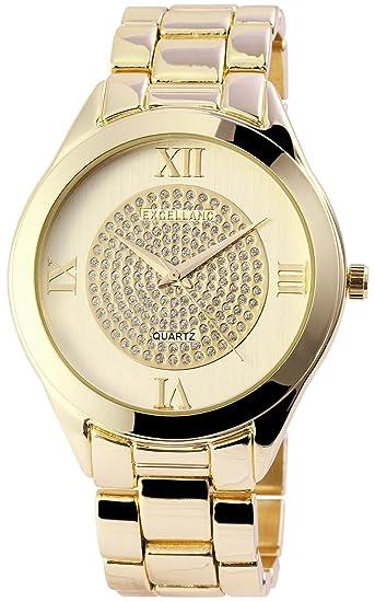 Reloj mujer oro Analog brillantes números romanos metal Reloj de pulsera
