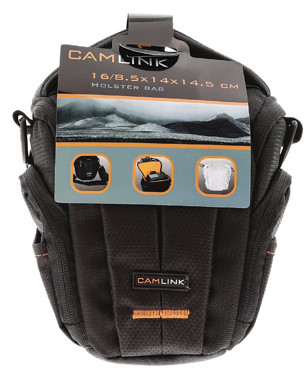 Camlink 16//18.5 x 14 x 14.5 cm Holster Bag for Camera Balck//Orange