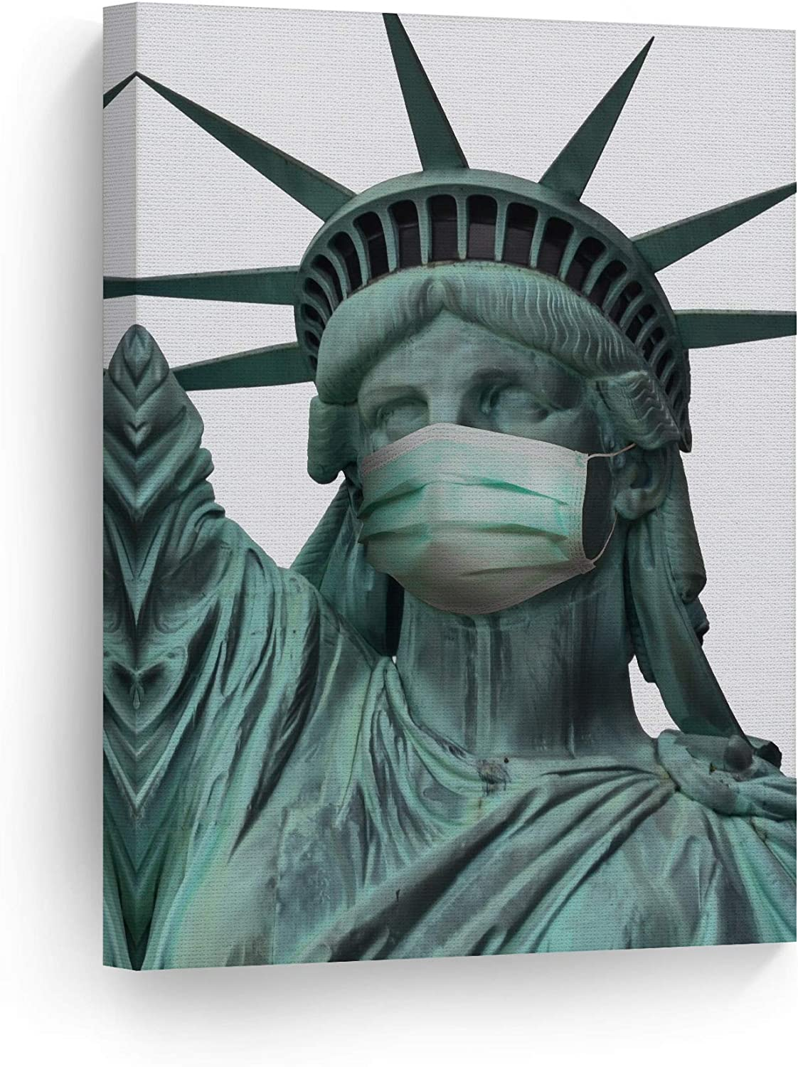 Smile Art Design New York City Masterpiece Statue of Liberty Face Mask Pandemic Inspired Funny Canvas Wall Art Print Paint Living Room Social Distancing Art Home Decor Ready to Hang Made in USA 12x8