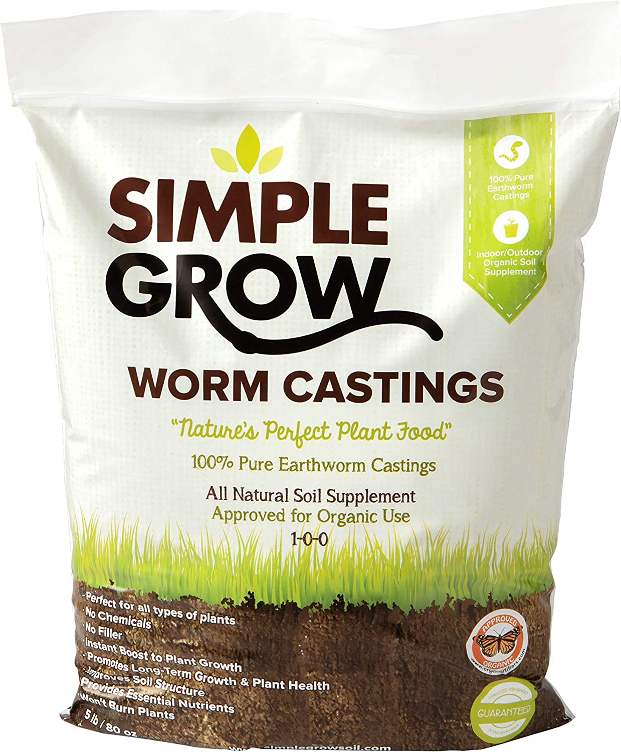 Simple Grow Worm Castings - Pure, Organic Fertilizer and Soil Supplement - 5 Pound Bag - Natural Soil Enhancer for Gardens, House Plants, Flowers, and Lawns - Odor Free