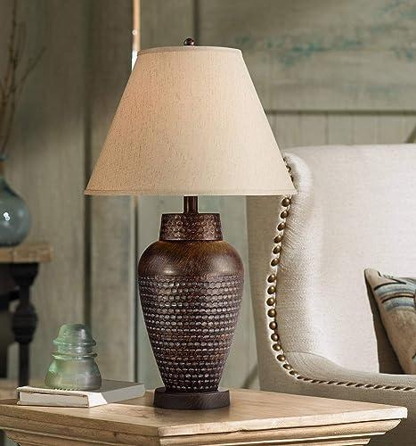 Auburn Modern Table Lamp Rustic Hammered Bronze Metal Vase Natural Linen Empire Shade for Living Room Family Bedroom Bedside – Regency Hill
