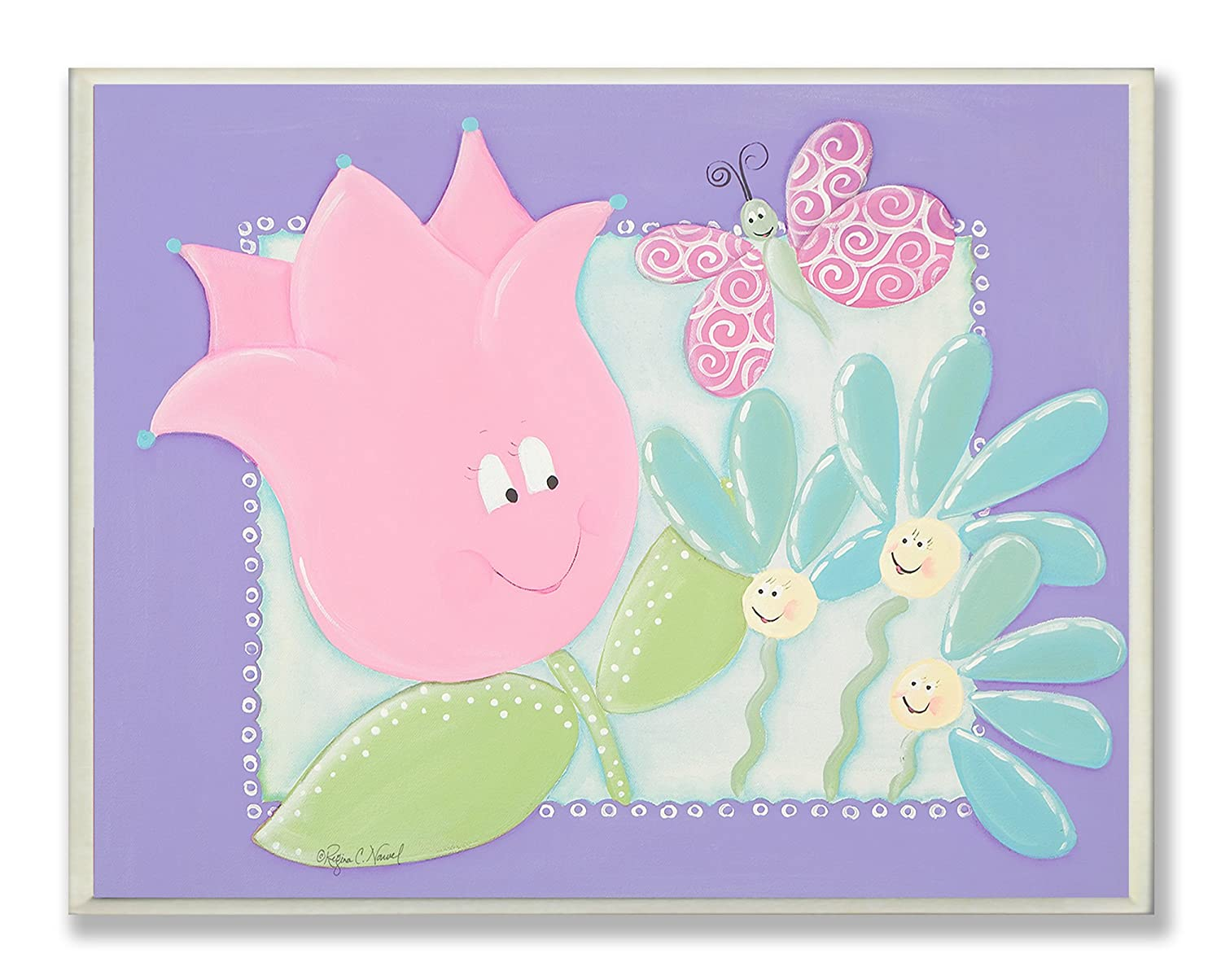 The Kids Room by Stupell Happy Flowers with Butterfly Rectangle Wall Plaque brp-1560