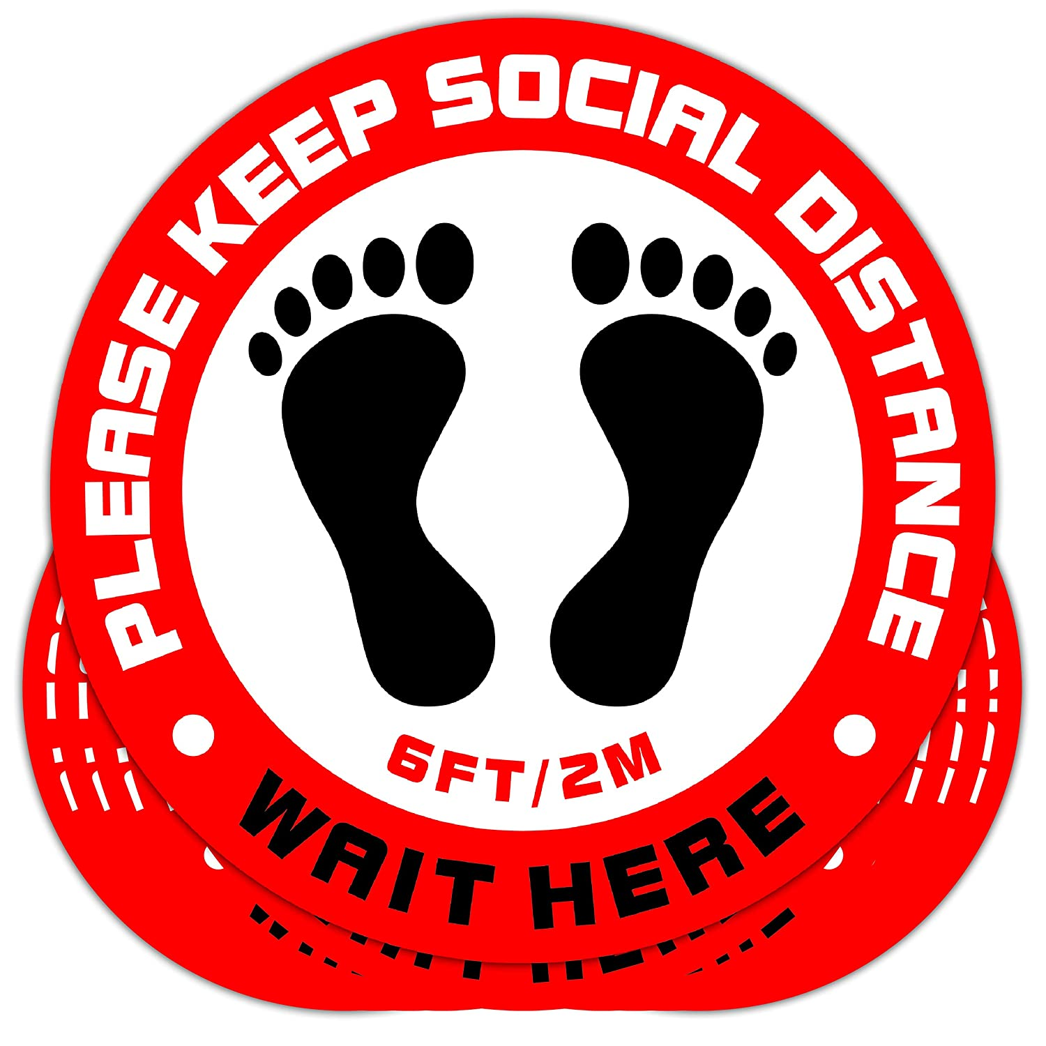 Acessorz Social Distancing Floor Decal Sticker Sign - Stop 6 Feet Apart Stand Please Wait Here Sign Safety Social Distance for Grocery Stores, Dr. Offices, Hospitals - 11 Inch Round (10 Pack)