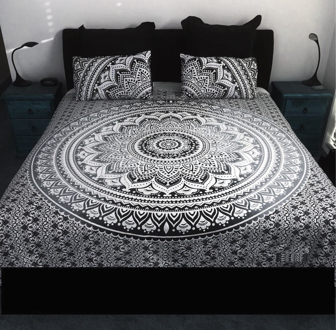 Sophia Art Exclusive Indian Bohemain Full Size Ombre Mandala Tapestry/Wall Hanging Bedding Duvet Quilt Cover with Pilow Duvet Set (Grey&Black)