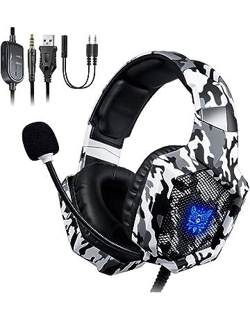 ONIKUMA Auriculares Gaming, Cascos Gaming, Auriculares de Juego con Micrófono y RGB LED Compatible