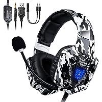 ONIKUMA Auriculares Gaming, Cascos Gaming, Auriculares de Juego con Micrófono y RGB LED Compatible con PS4,Nuevo Xbox…