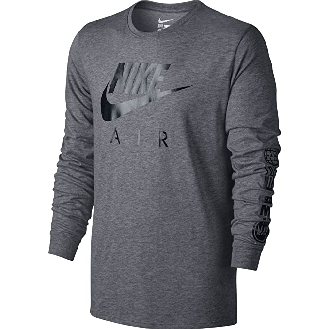 Nike Mens Nike Air Long Sleeve Tee Carbon Heather/Black 805017-091 Size  Medium