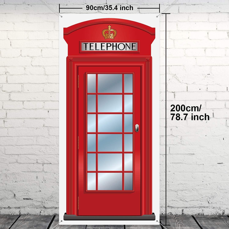 Englisch Telefonzellen Tür Abdeckung Große Stoff Rot Telefonzellen Tür Abdeckung Haus Telefonzelle Dekor Banner Für Foto Hintergrund Britisch Thema Party Gefallen 78 7 X 35 4 Zoll Baumarkt