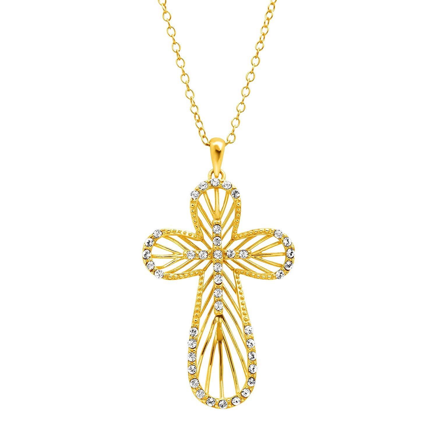 Crystaluxe Concave Cross Pendant Necklace with Swarovski Crystals in 18K Gold-Plated Sterling Silver