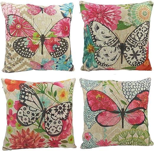Nunubee mariposas algodón lino fundas de almohada de 45 x 45 cm fundas de almohada manta almohadas funda cojines para sofá (4 piezas Set): Amazon.es: Hogar