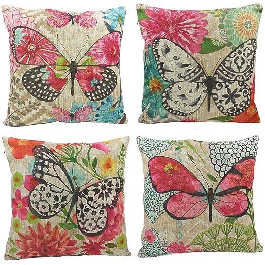 Nunubee mariposas algodón lino fundas de almohada de 45 x 45 ...