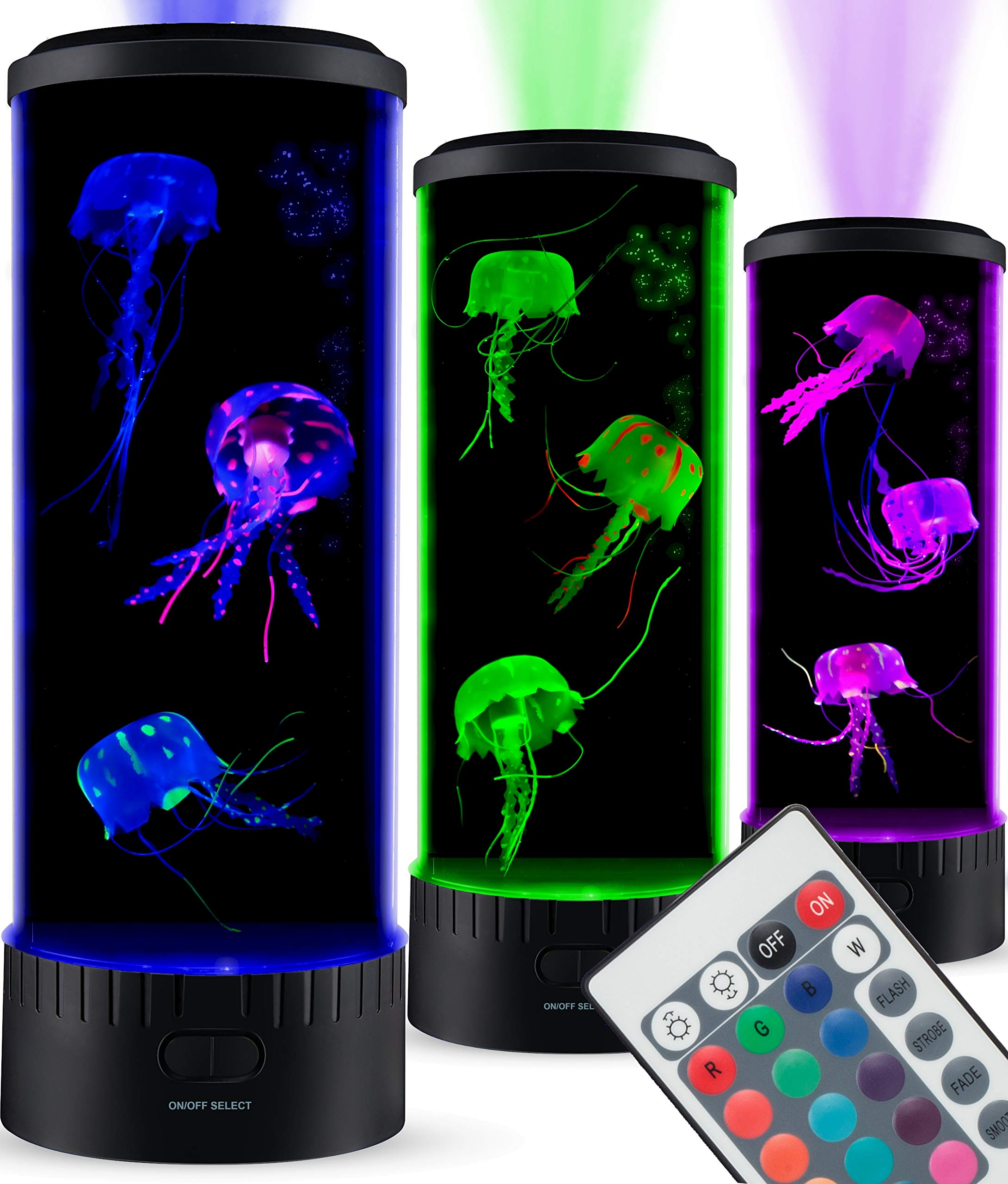 SensoryMoon Large LED Jellyfish Lava Lamp Aquarium - Electric Round Jellyfish Tank Mood Light with 3 Fake Glowing Jelly Fish, 20 Color Changing Remote, Ocean Wave Projector - Plug in Kids Night Light by SensoryMoon