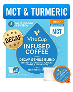 VitaCup Decaf Genius Coffee Pods | Energy & Focus | Keto | MCT, Turmeric & Cinnamon | Vitamins B1, B5, B6, B9, B12, D3 | Compatible with Single Serve K-Cup Brewers Including Keurig 2.0, 64 Ct