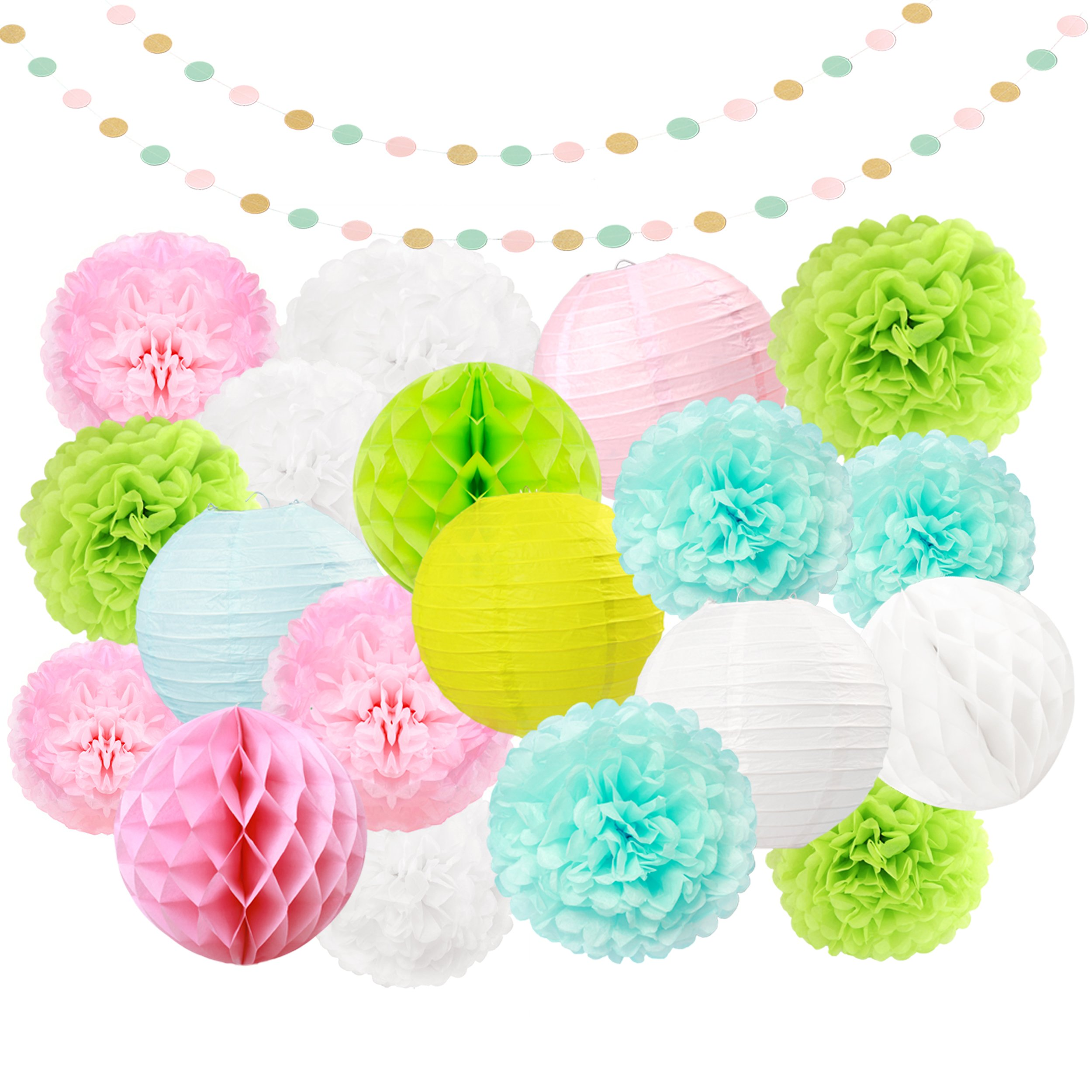 LyButty 21 Pcs Tissue Paper Pom Poms Flowers Paper Honeycomb balls Paper Lanterns Polka Dot Garland Hanging Party Supplies (Apple Green Light Pink Light Blue White) by LyButty