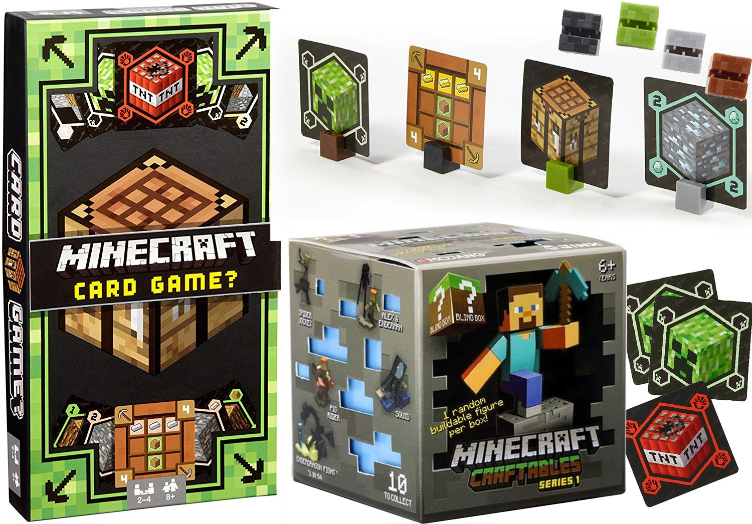 Craftable Blind Box Block Buildable Figure Collectible Video Game Gear Bundle AYB Products Build! Minecraft Card Game Mine Craft