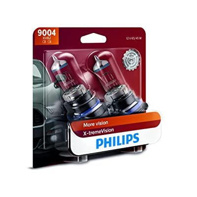 Philips 9004 X-tremeVision Upgrade Headlight Bulb with up to 100% More Vision, 2 Pack: Automotive