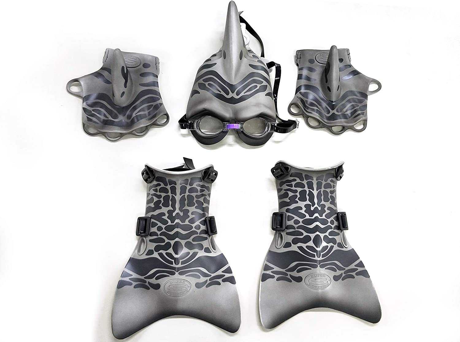 Big Time SHARKMAN Super Swimmer Dress UP Swim Gear -Mask with Dorsal Fin Underwater Goggles Flippers Web Gloves! Perfect for Shark Week!!
