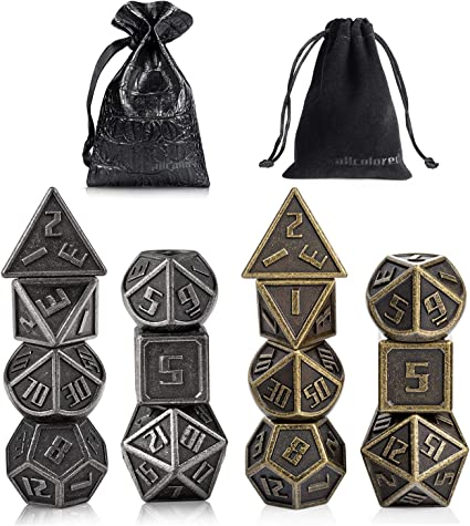 16mm Metal Dice Set D/&D 2 Pack-Antique Iron /& Ancient Brass DND Metal Dice for Playing Tabletop Roleplay Games Dungeons and Dragons by ALLCOLORED